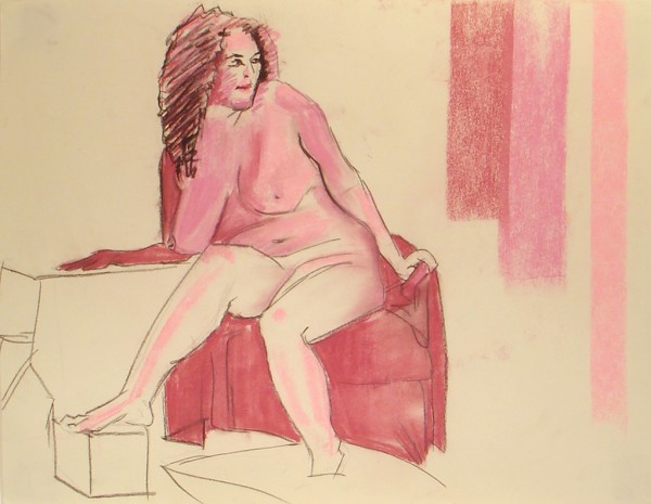 Figure Drawing Girl Seated Pose Pink_Final