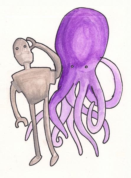 Octopus Robot Watercolor